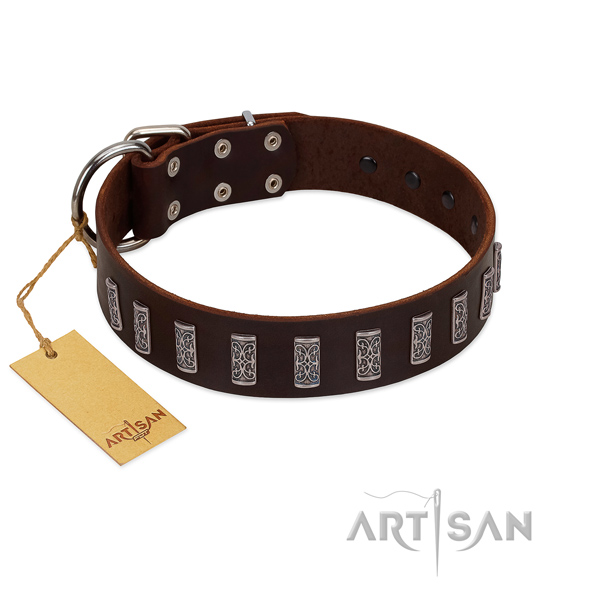 Top rate full grain leather dog collar with rust-proof buckle