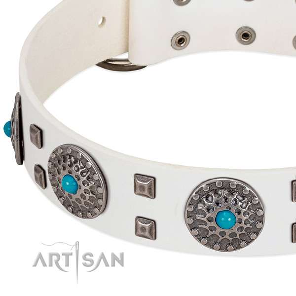 Soft full grain leather dog collar with stylish decorations
