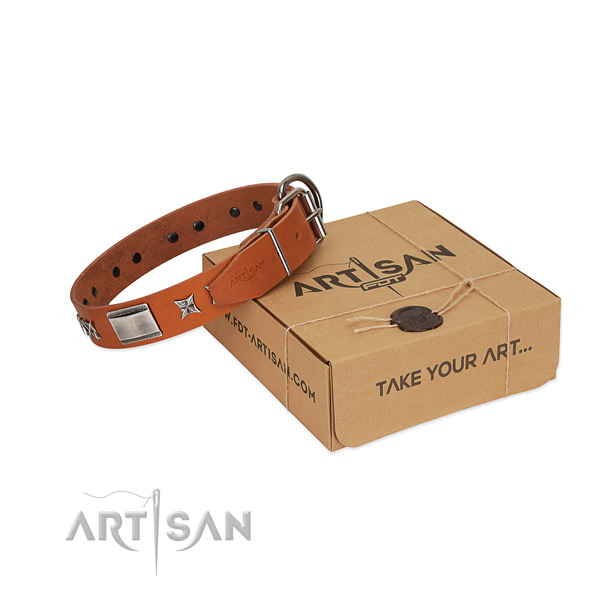 Quality full grain leather dog collar with corrosion proof D-ring