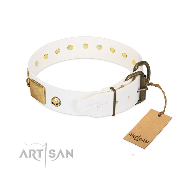 Strong full grain leather collar handcrafted for your four-legged friend