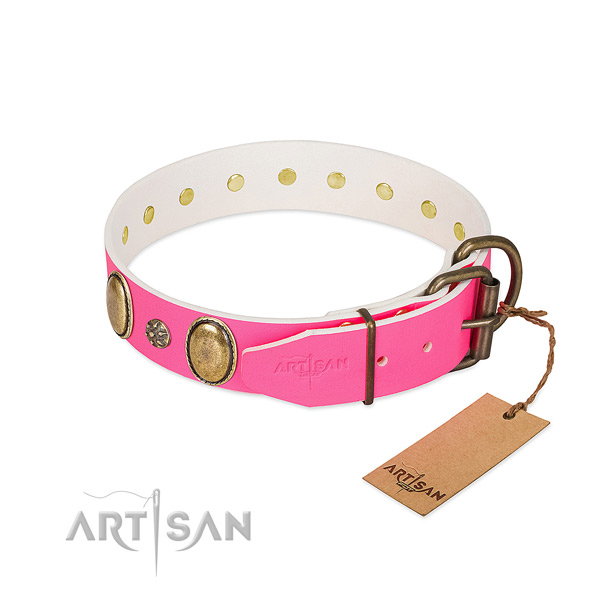 Comfortable wearing soft full grain leather dog collar with adornments