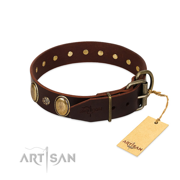 Handy use top rate natural genuine leather dog collar