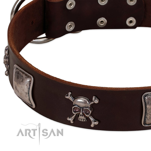 Reliable fittings on leather dog collar