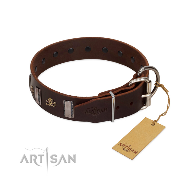 Stylish walking high quality full grain genuine leather dog collar with adornments