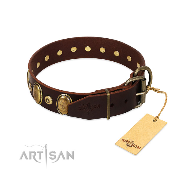 Full grain leather dog collar with corrosion resistant embellishments