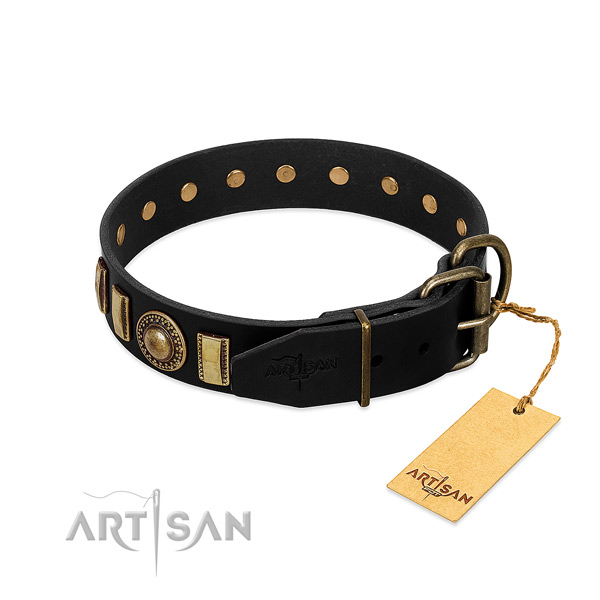 Gentle to touch natural leather dog collar with decorations