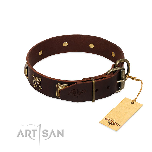 Soft genuine leather dog collar with incredible decorations