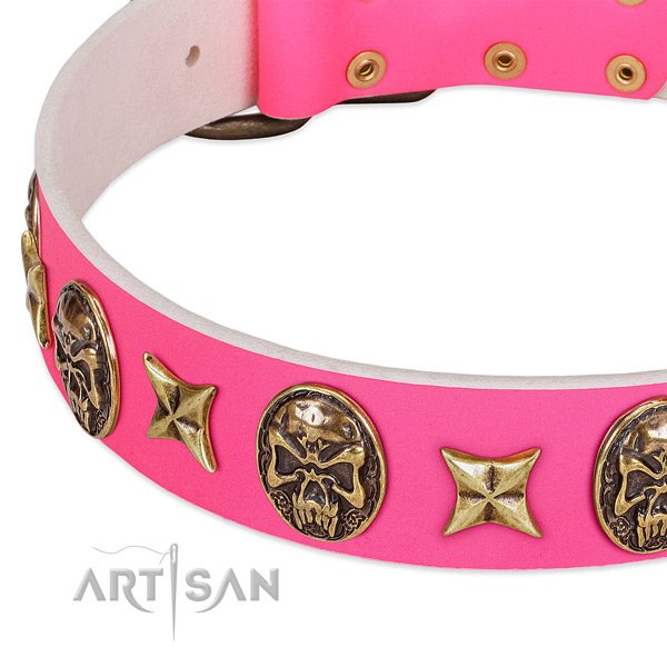Full grain leather dog collar with corrosion proof D-ring