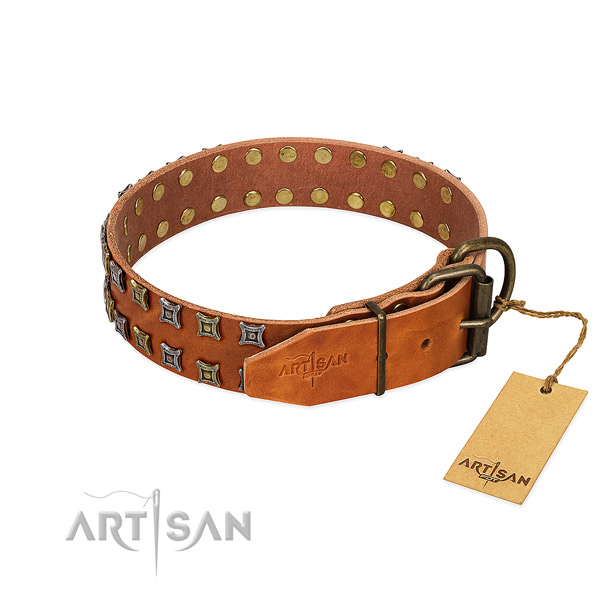 Top notch full grain genuine leather dog collar handmade for your pet