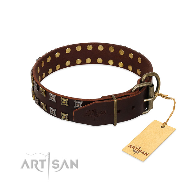 Soft full grain genuine leather dog collar made for your canine