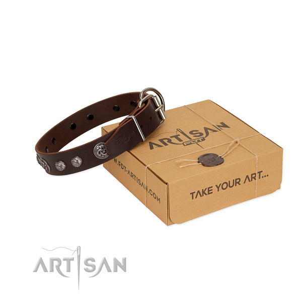 Gentle to touch natural leather dog collar with corrosion proof traditional buckle