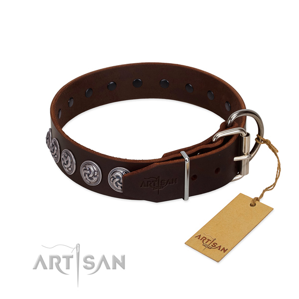 Durable fittings on leather dog collar for walking your pet