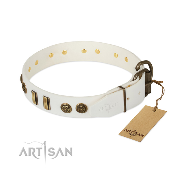 Strong buckle on full grain natural leather dog collar for your dog