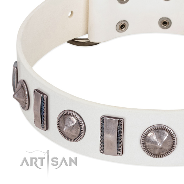 Exquisite adorned genuine leather dog collar for easy wearing