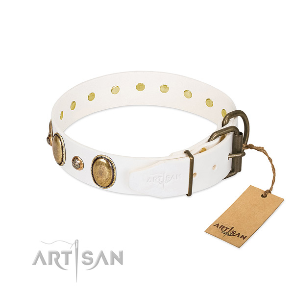Handy use full grain leather dog collar