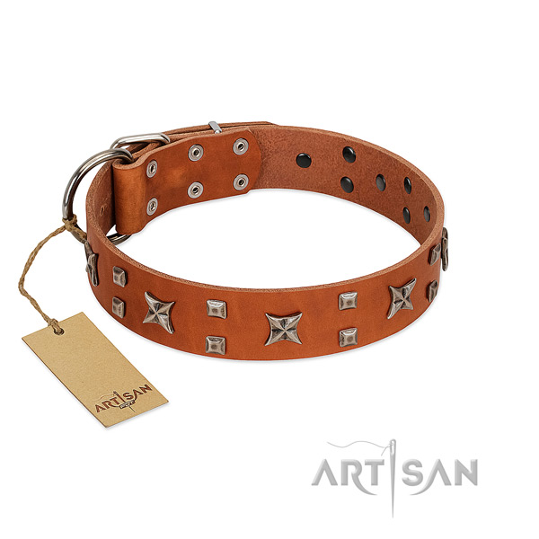 Soft to touch full grain genuine leather dog collar with studs for comfortable wearing