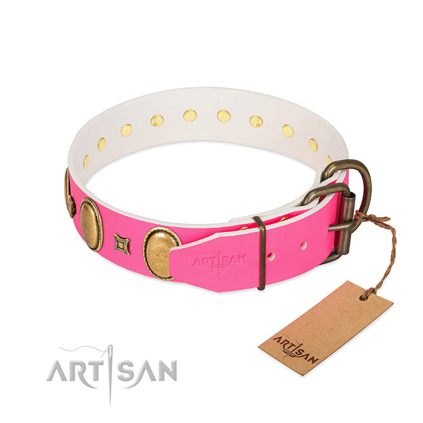 Gentle to touch full grain natural leather collar handmade for your dog