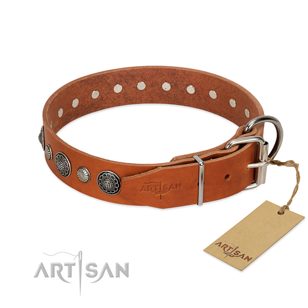 High quality genuine leather dog collar with corrosion resistant fittings