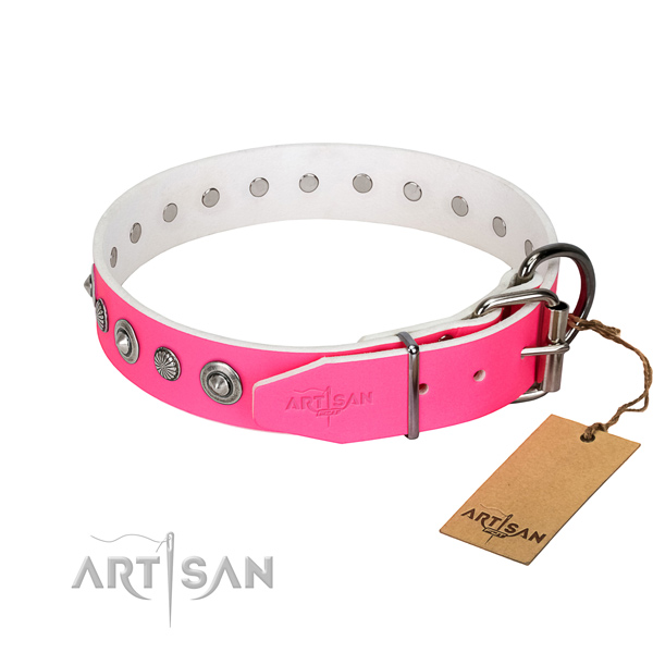 Durable full grain genuine leather dog collar with exquisite studs