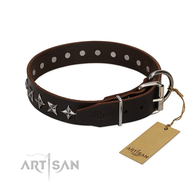 Basic training adorned dog collar of quality leather