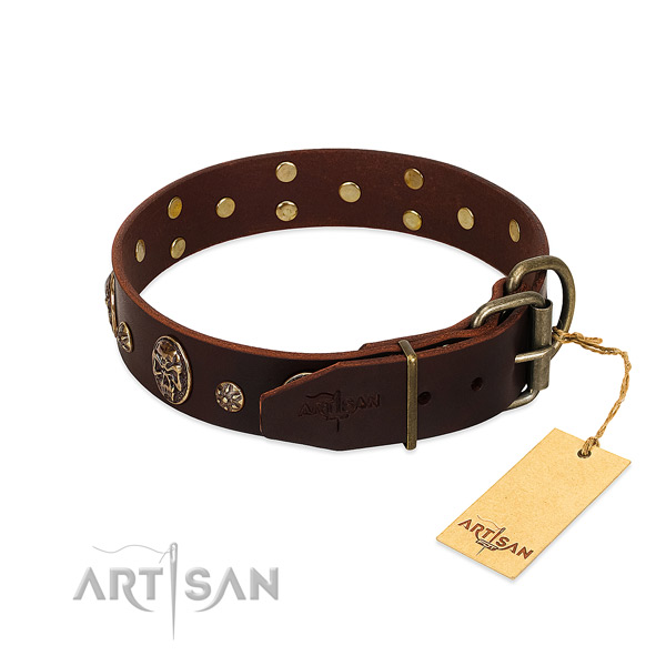 Corrosion proof D-ring on full grain leather dog collar for your pet