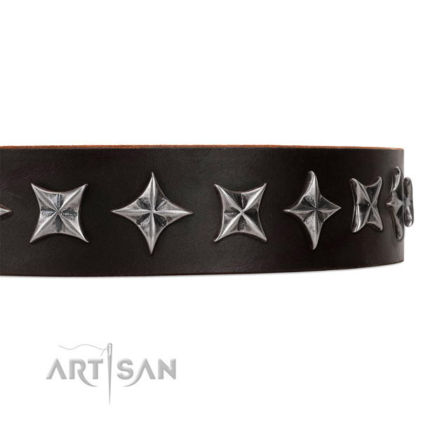 Easy wearing studded dog collar of best quality genuine leather