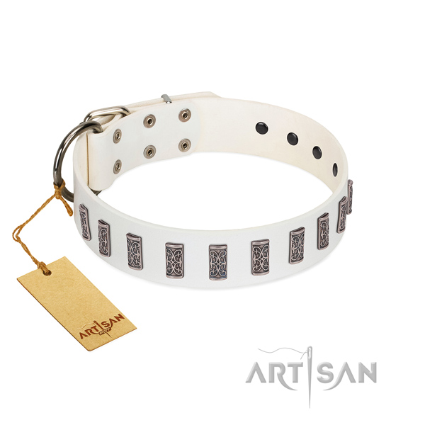 Leather dog collar of gentle to touch material with exquisite decorations