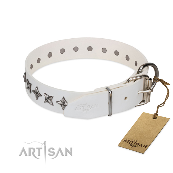Handy use adorned dog collar of reliable full grain natural leather