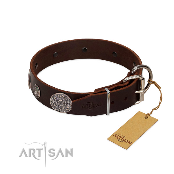 Strong studs on genuine leather dog collar