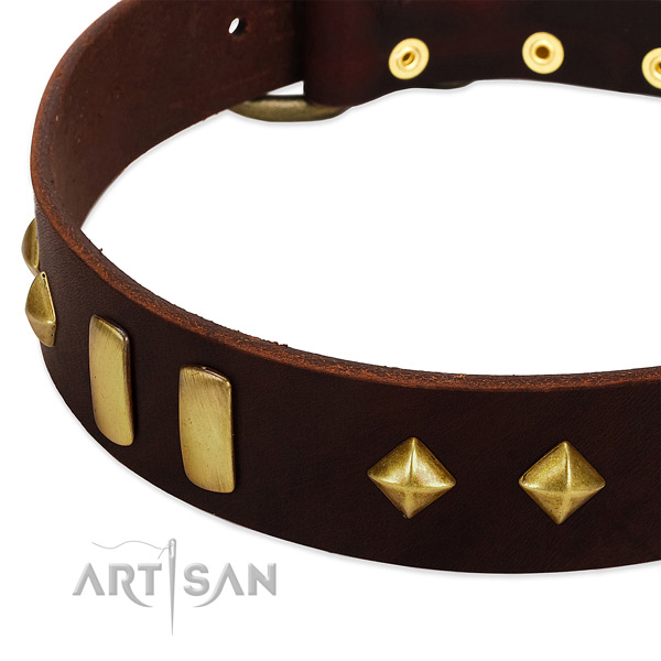 Gentle to touch natural leather dog collar with stylish design decorations