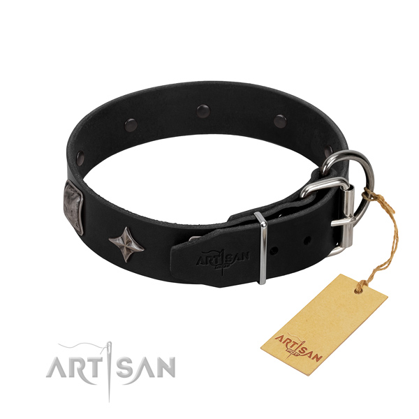 Quality full grain genuine leather dog collar with decorations for everyday walking