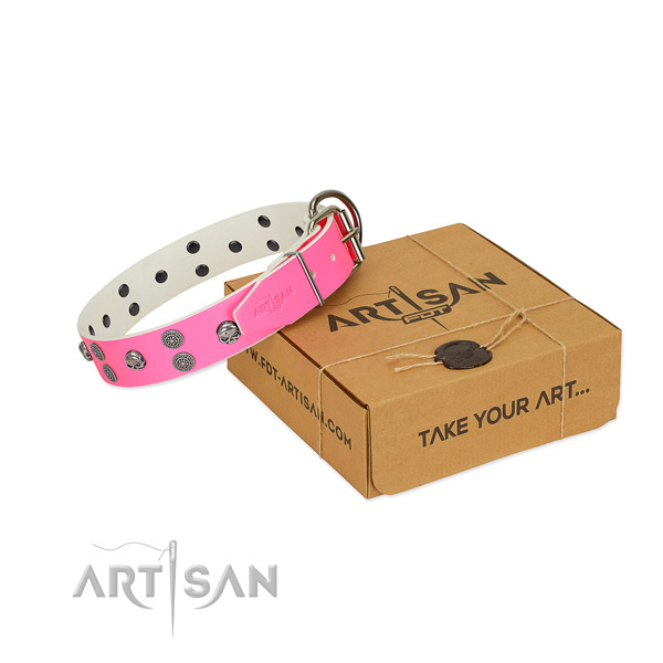 Comfortable wearing natural leather dog collar with trendy adornments