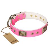 """Frenzy Candy"" FDT Artisan Decorated Pink Leather German Shepherd Collar"