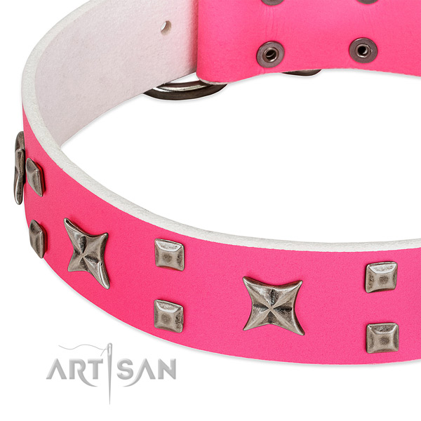 Stunning full grain genuine leather collar for your four-legged friend stylish walking