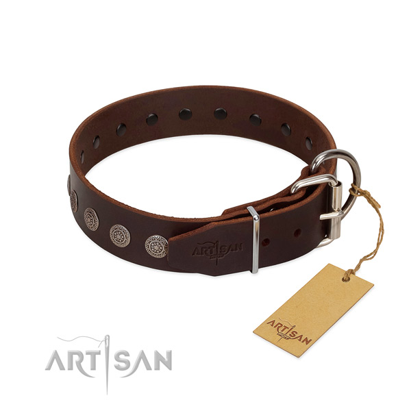 Inimitable genuine leather collar for your pet