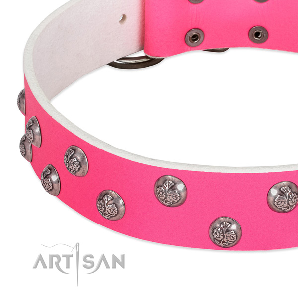 Leather dog collar with reliable traditional buckle and decorations