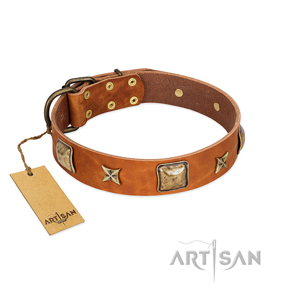 Exceptional full grain natural leather collar for your canine