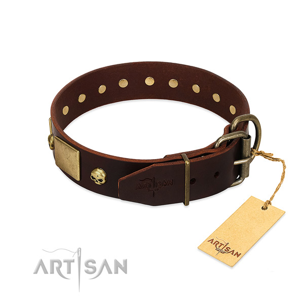 Soft full grain genuine leather dog collar with corrosion resistant studs