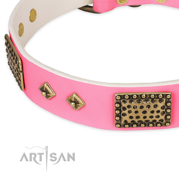 Natural genuine leather dog collar with studs for handy use