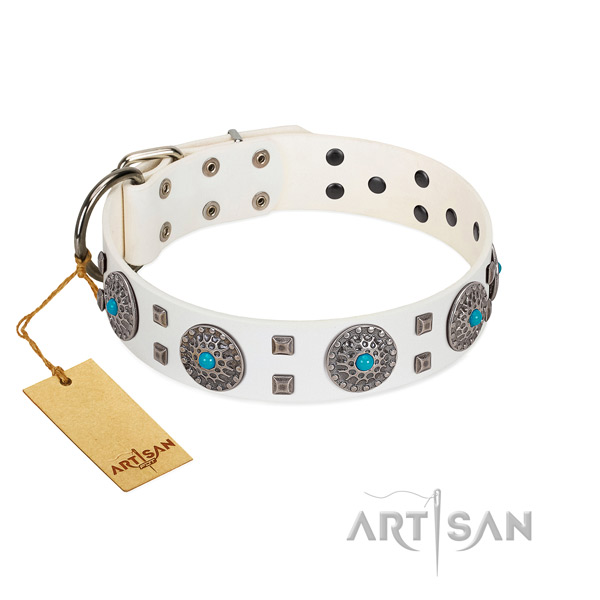 Comfortable wearing full grain natural leather dog collar with amazing adornments