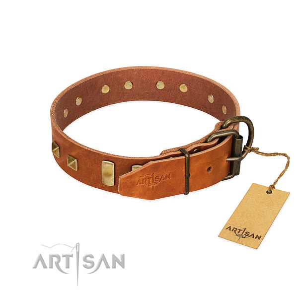 Reliable natural leather dog collar with corrosion proof D-ring