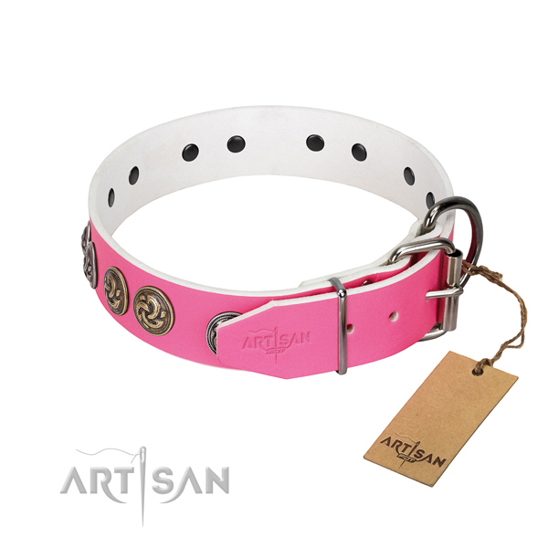 Strong hardware on stylish full grain natural leather dog collar