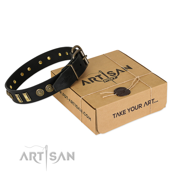 Durable buckle on full grain natural leather dog collar for your dog