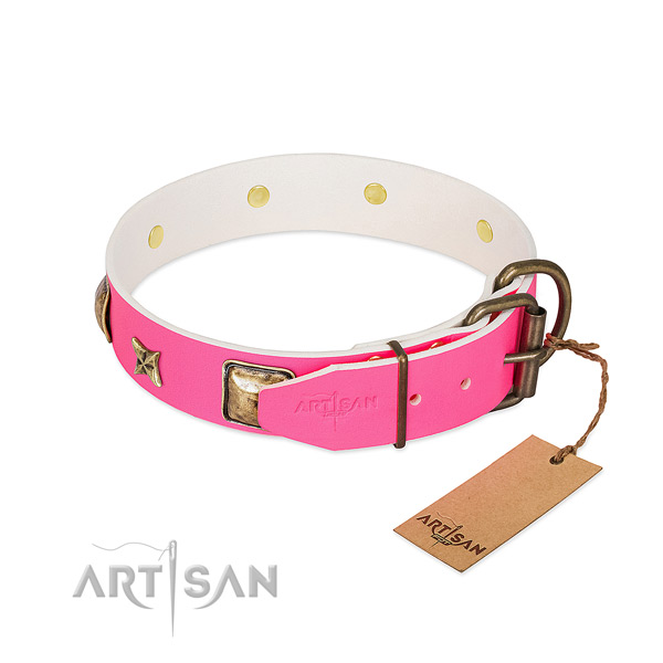 Corrosion resistant buckle on full grain natural leather collar for basic training your dog