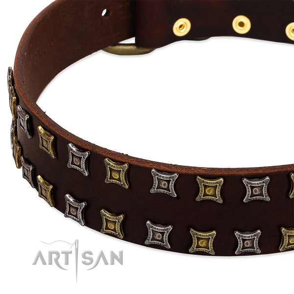 Flexible full grain genuine leather dog collar for your attractive canine