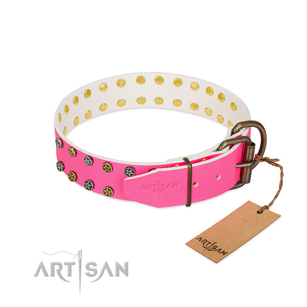 Soft natural leather collar with adornments for your canine