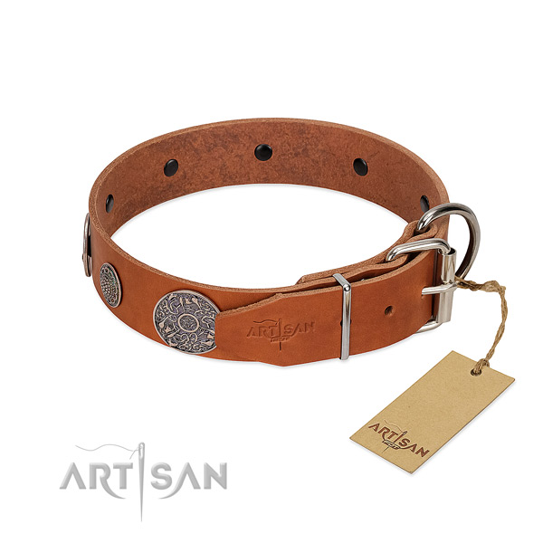 Top notch full grain natural leather collar for your lovely pet