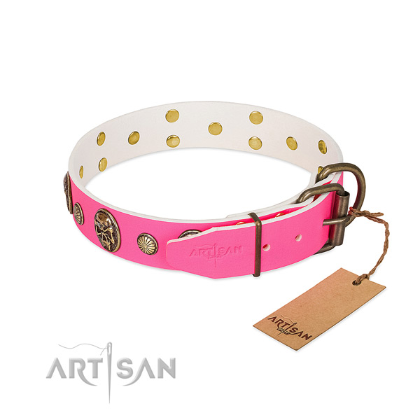 Rust-proof hardware on full grain natural leather dog collar for your four-legged friend