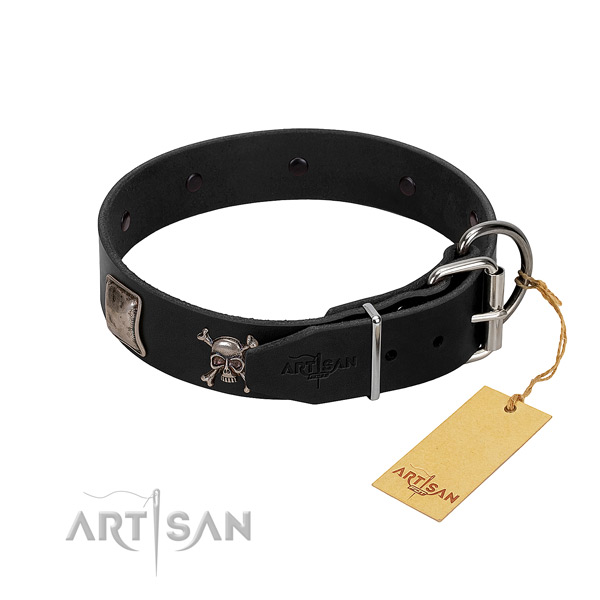 Impressive natural genuine leather collar for your impressive doggie