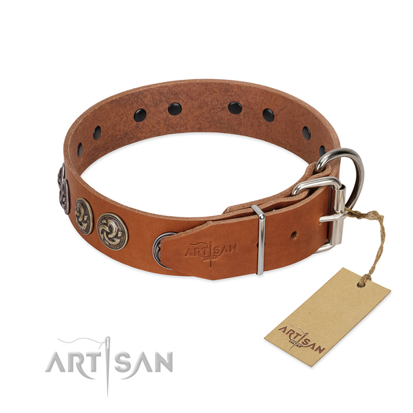 Reliable traditional buckle on exquisite full grain natural leather dog collar